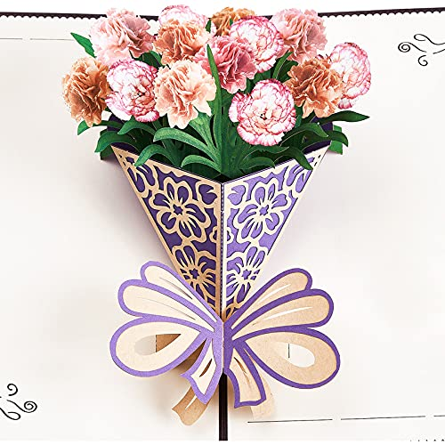 PartyWoo Pop Up Karten, Grußkarten, Nelken Geburtstagskarten für Frauen, Alles Gute Zum Geburtstagskarte, Pop Up Geburtstagskarte, Dankeskarten, Liebes Pop Up Karten, Geburtstagskarte für Mutter, Frau