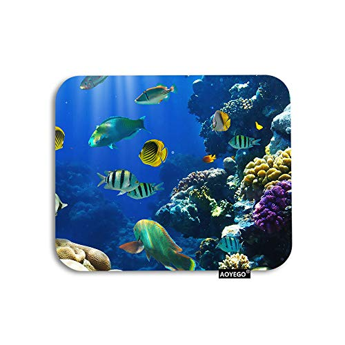 AOYEGO Fish Mouse Pad Tropical Ocean Sea Coral Reef Underwater Seaweed Gaming Mousepad Rubber Large Pad Non-Slip for Computer Laptop Office Work Desk 9.5x7.9 Inch