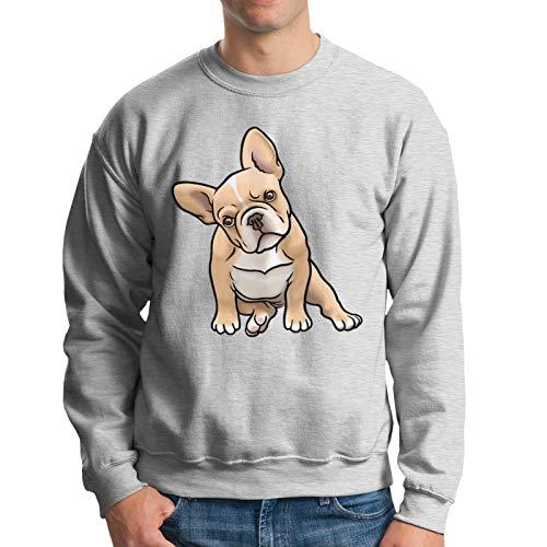 Tngjijish Lindaony Men's Round Neck Pullover Sweatshirt Frenchie Loose and Comfortable Everyday Sweatshirt Large Gray