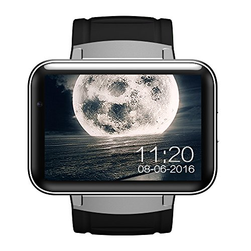 MROSW DM98 Bluetooth Smart Watch 2,2 Zoll Android 5.1 OS 3G Smartwatch Phone MTK6572A Dual Core 1,2 Ghz 4 GB ROM Kamera WCDMA,Silber