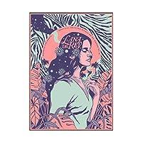 Ipea Lana Del Rey抽象音楽スター絵画ポスターとプリントキャンバスウォールアート写真ホームルームの装飾用(19.69X27.56インチ)50X70Cmフレームなし