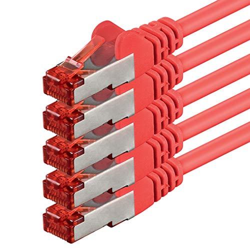 1aTTack 88280 3m CAT6 Netzwerkkabel CAT.6 Patchkabel Ethernetkabel SFTP PIMF 1000 Mbit s 5 Stück rot