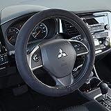 BDK Ergonomic Leather Grip Steering Wheel Cover - Soft Plush Memory Foam Grip for Standard Size Wheels 14.5-15.5