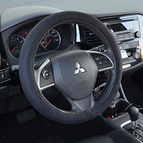 BDK Ergonomic Leather Grip Steering Wheel Cover - Soft Plush Memory Foam Grip for Standard Size Wheels 14.5-15.5' (Black)
