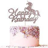 Artczlay happy birthday cake topper rose gold glitter unicorn theme boy girl children birthday party cake decoration