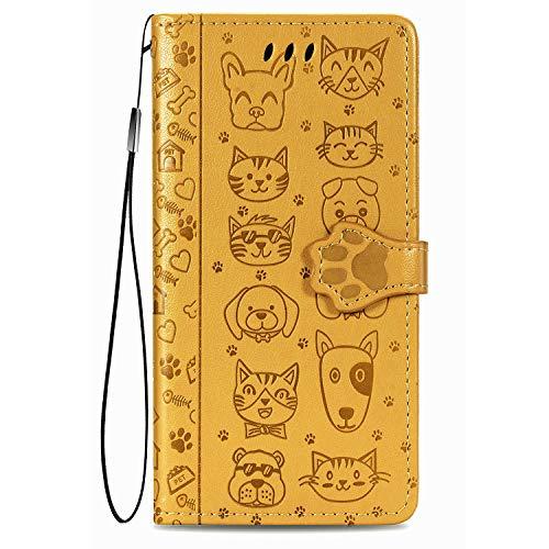 Carcasa para Samsung A21S con diseño de gato y perro animal, funda antigolpes, funda de piel sintética resistente con tarjetero y soporte ajustable, color amarillo