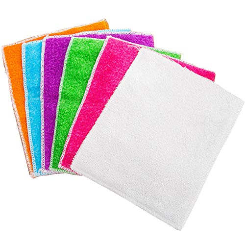 mollensiuer 6Pcs Assorted Color Bamboo Fiber Dish Cloth Best Home Kitchen Cleaning Cloths Scouring Pad Dish Towels Kitchen Scrubber Washing Tool (6 Colors)