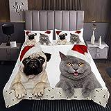Kinder H& Katze Bettüberwurf 240x260cm Mädchen Netter Kätzchen Mops Mit Weihnachtshut Tagesdecke Weihnachten Tiermuster Steppdecke 3D Schöne Welpenkatze