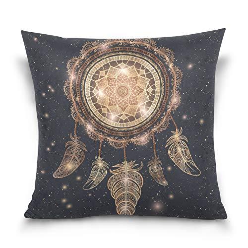 HMZXZ Funda de almohada de 45,7 x 45,7 cm Galaxy Etnica Indio Talismán Dreamcatcher Mandala Plumas Decorativas Fundas de Almohada Funda de Cojín para Sofá Dormitorio Hogar Sala