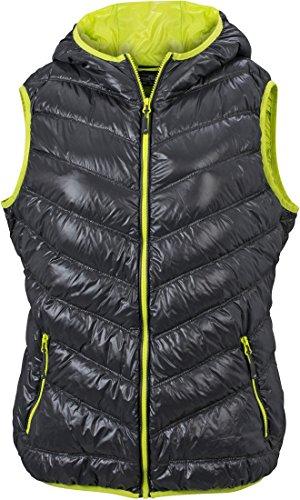Ultraleichte sportliche Daunenweste mit Kapuze Damen S,carbon/acid-yellow