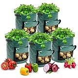 GOICC Bolsas Para Cultivo De Patatas, Bolsas Para Macetas Con Ventana Abatible Y Asa, Hortalizas De Cultivo: Patata, Zanahoria, Tomate, Cebolla (Paquete De 2),10 Gallons 35 * 50cm
