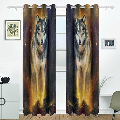 JSTEL Wolf Vorhänge Panels Verdunklung Blackout Tülle Raumteiler für Terrasse Fenster Glas-Schiebetür Tür 139,7x 213,4cm, Set von 2