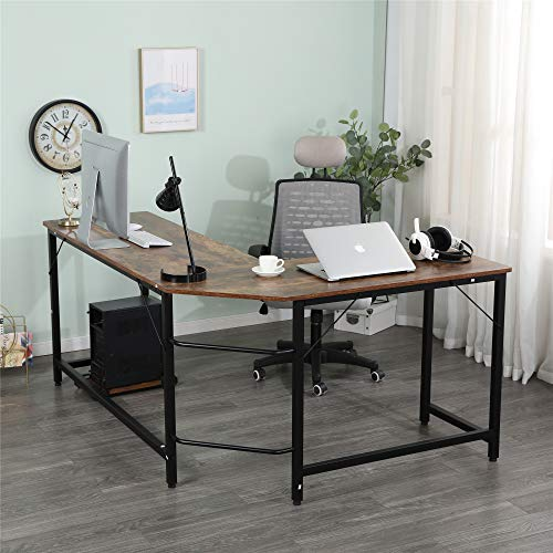 Goujxcy Industrial L Shape Computer Desk for 2 People, Wooden Tabletop Metal Frame Reading Writing Home Office Corner Desk with CPU Stand