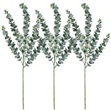 Supla 3 Pcs Faux Eucalyptus Leaves Spray Artificial Eucalyptus Branches Plants Artificial Greenery Stems 35' Tall in Grey Green for Greenery Wedding Party Floral Arrangement