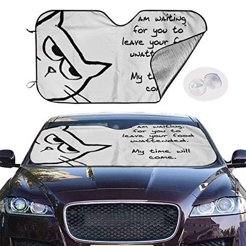 VTIUA Parasol para Parabrisa,parasoles de Coche Auto Cute Kitty Portable Universal Sunshade Keeps Vehicle Cooler for Car,SUV,Trucks,Minivan Automotive and Most Vehicle Sunshade (51 X 27 in)
