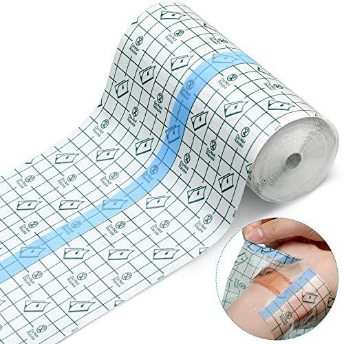 Transparent Stretch Adhesive Bandage Waterproof Bandage Clear Adhesive Bandages Dressing Tape for Tattoos (6 Inch x 10.94 Yard)