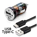 KARYLAX Chargeur Voiture Allume-Cigare Motif CV02 Câble USB Type C pour LG Q8 2018