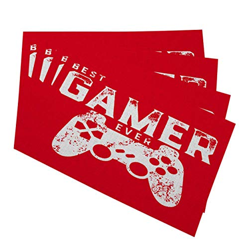 """Mugod Placemats Best Gamer Ever for Video Games Geek Decorative Heat Resistant Non-Slip Washable Place Mats for Kitchen Table Mats Set of 4 12""""x18"""""""