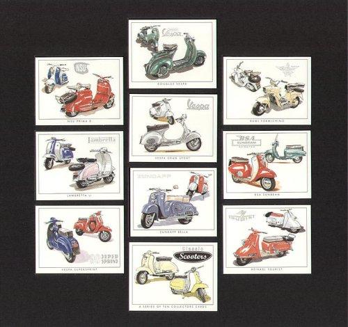 Classic Scooter - Douglas Vespa, Rumi Formichino, NSU Prima D, Vespa Gran Sport, BSA Sunbeam, Lambretta Li Series 2, Zundapp Bella, Heinkel Tourist, and Vespa Supersprint 90 - Collectors Cards