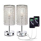 Dellemade - Set di 2 lampade da tavolo in cristallo con 2 porte USB per camera da letto, s...