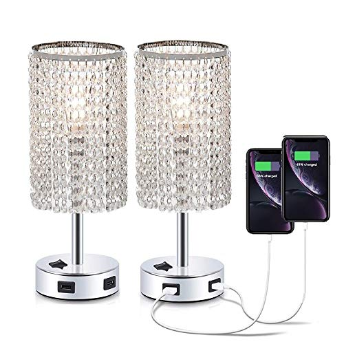 Pack of 2 Dellemade Regentropfen Kristall Tischlampe mit 2 USB -Port für Schlafzimmer, Wohnzimmer, Mädchen Zimmer oder als Hochzeitsgeschenk