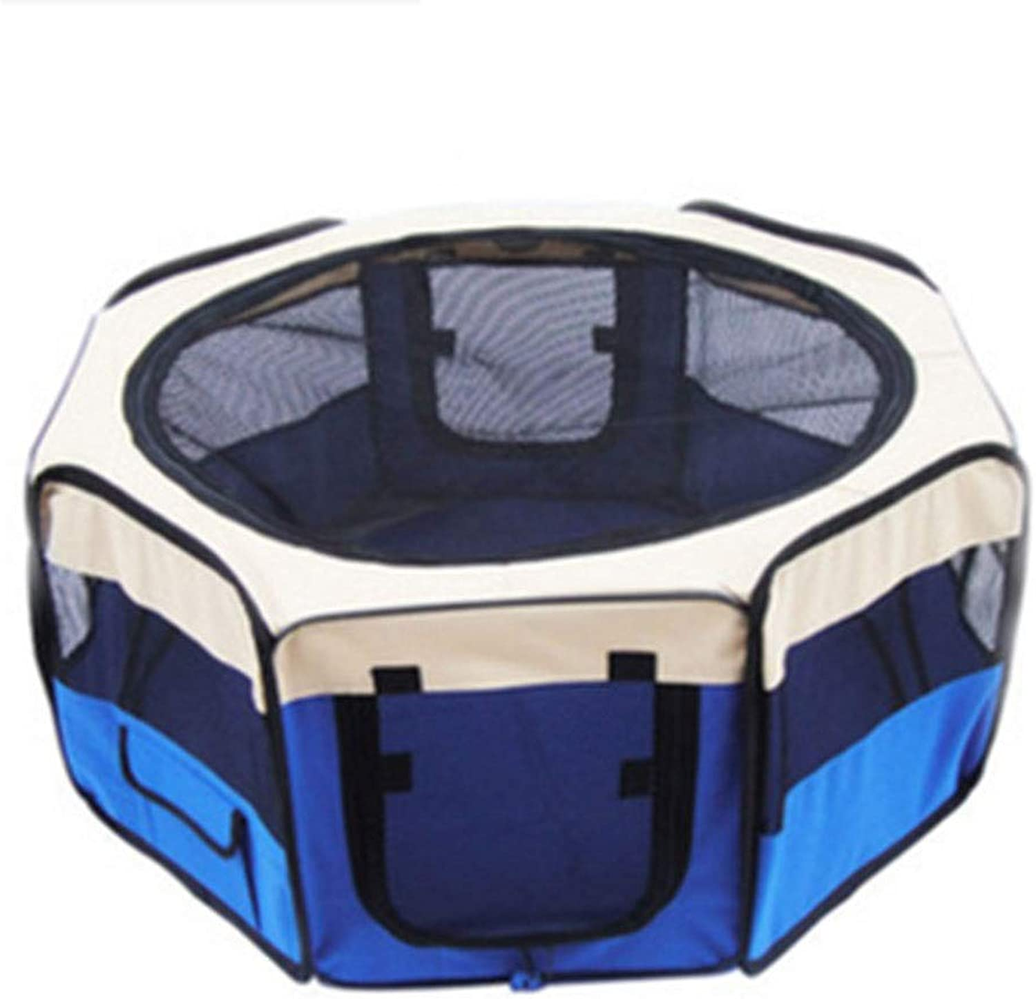 Dog Playpens Pet Production House Indoor Cat Room Outdoor Collapsible Tent Closed Ventilation Fence EightSided Grid Pet Play Fence Outdoor Pet Production Box (color   blueee, Size   155  155  61cm)