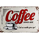 Nostalgic-Art Cartel de Chapa Retro USA – Strong Coffee Served Here – Idea de Regalo para la Cocina, metálico, Diseño Vintage Decorativo, 20 x 30 cm