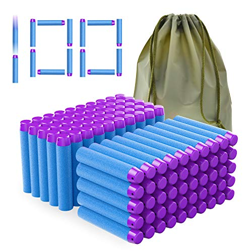 Coodoo Compatible Darts 100 PCS Refill Pack Bullets for Nerf Guns N-Strike Elite Series Blasters Toys for Nerf Party - Light Blue with Storage Bag