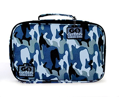 Go Green Lunch Box Set • 5 Compartment Leak-Proof Lunch Box • Insulated Carrying Bag • Beverage Bottle • Gel Freezer Pack | Adults and Kids (Blue Camo)