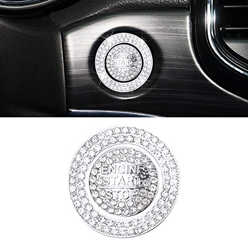 CARFIB Car Interior Bling Accessory for Jeep Grand Cherokee Altitude Limited Overland Ignition Button Ring Start Stop Run Engine Push Decals Sticker Decoration Men Women Zinc Alloy Crystal Silver 2Pcs