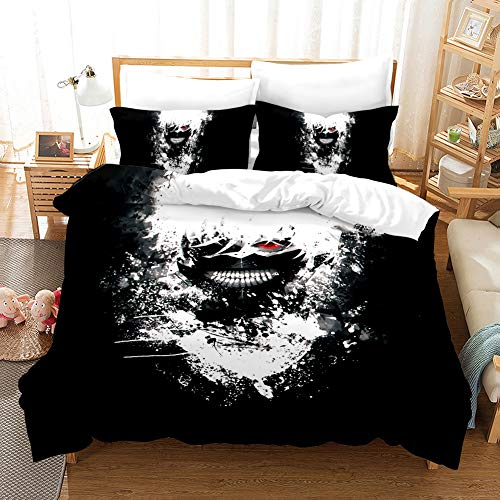 Meiju Duvet Cover Set Bedding Set with Microfiber Pillowcases & Zipper Closure Quilt Case 3D Printing for Boy Girl Single Double King Size Bed (Tokyo Ghoul 5,220x260cm)
