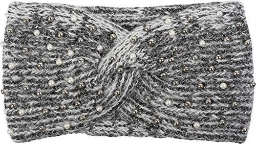 styleBREAKER Damen Strick Stirnband mit Perlen, Metallic Garn und Twist Knoten, warmes Winter Haarband, Headband 04026029, Farbe:Weiß-Schwarz
