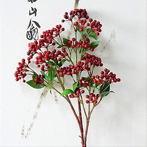 XFLOWR Berry Fruit Brank Kunstmatige bessen met bladeren voor tuin DIY Decoratie Kunstbloemen Planten Bloemen Artificiales rood