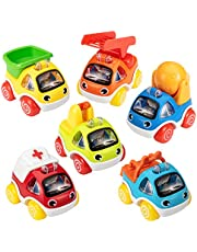 ASTOTSELL Car Toy for 1 2 3 Year Old Kids, 6 Piece Pull Back Toy Cars Mini Alloy Racing Vehicle Set for Toddlers, Pull Back and Driving Cars for Baby Birthday
