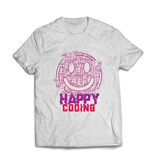 lepni.me Männer T-Shirt Happy Coding - Smiling Gesicht, Gamer, Programmierer Geschenk (Medium Weiß Mehrfarben)