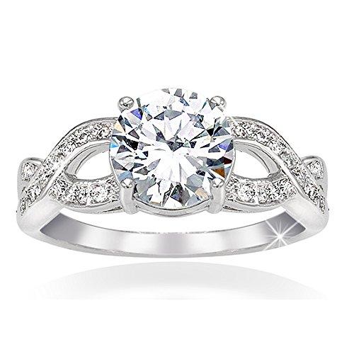 """Anillo solitario para mujer """"trenzado"""" con circonita central equivalente a un diamante de 1,5ct. Chapado en rodio, aleación hipoalergénica. Para aniversario, nacimiento, San Valentín y Navidad"""
