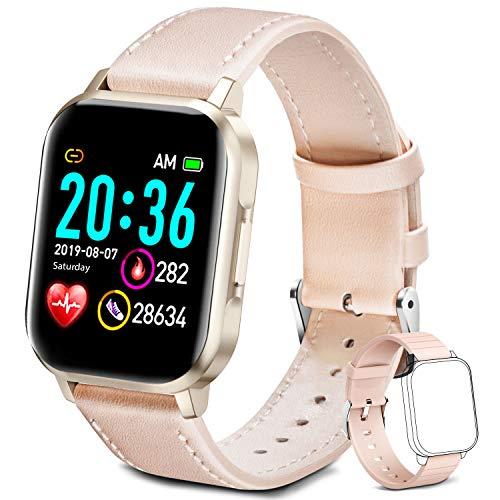 Smartwatch für Damen Herren Kinder, Fitness Armbanduhr 1,4 Zoll Touchscreen, Fitnessuhr Fitness Tracker mit Schrittzähler, Herzfrequenzmesser, Schlafmonitor, Smart Watch für iOS Android Handy (Rosa)