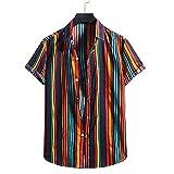Shirt Playa Hombre Básica Verano A Rayas Manga Corta Hombre Shirt con Botones Vintage Tapeta Ajustada Hombre T-Shirt Moderna con Cuello De Kent Moda Hombre Shirt Ocio YC05 S