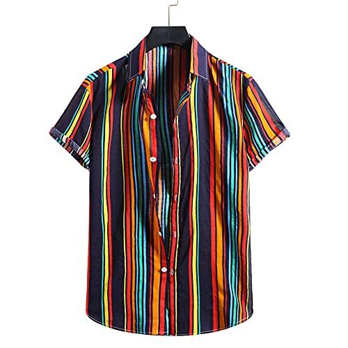 Casuales Camisas Hombre Verano Holgado Color Rayas Hombre Camiseta Moderno Urbano Botón Placket Hombre Manga Corta Casual Aire Libre Viajes All-Match Hombre Shirt YC05 XL