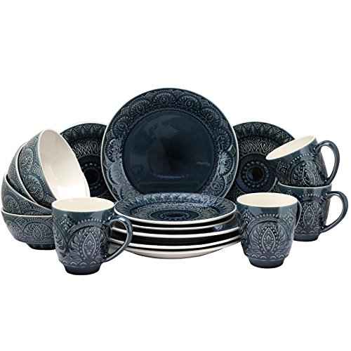 Elama Decorated Round Stoneware Deep Embossed Dinnerware Dish Set, 16 Piece, Dark Navy Blue