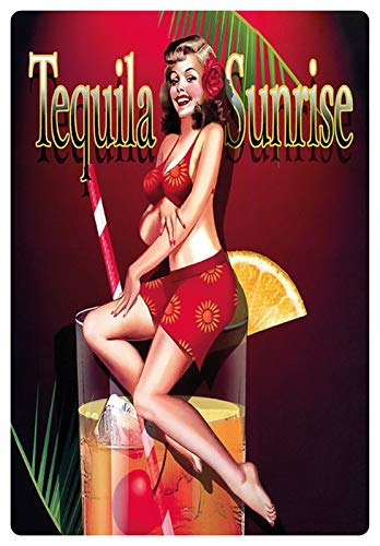 Metalen bord 20x30cm Tequila Sunrise Cocktail Sexy Pinup bord pin up Tin Sign