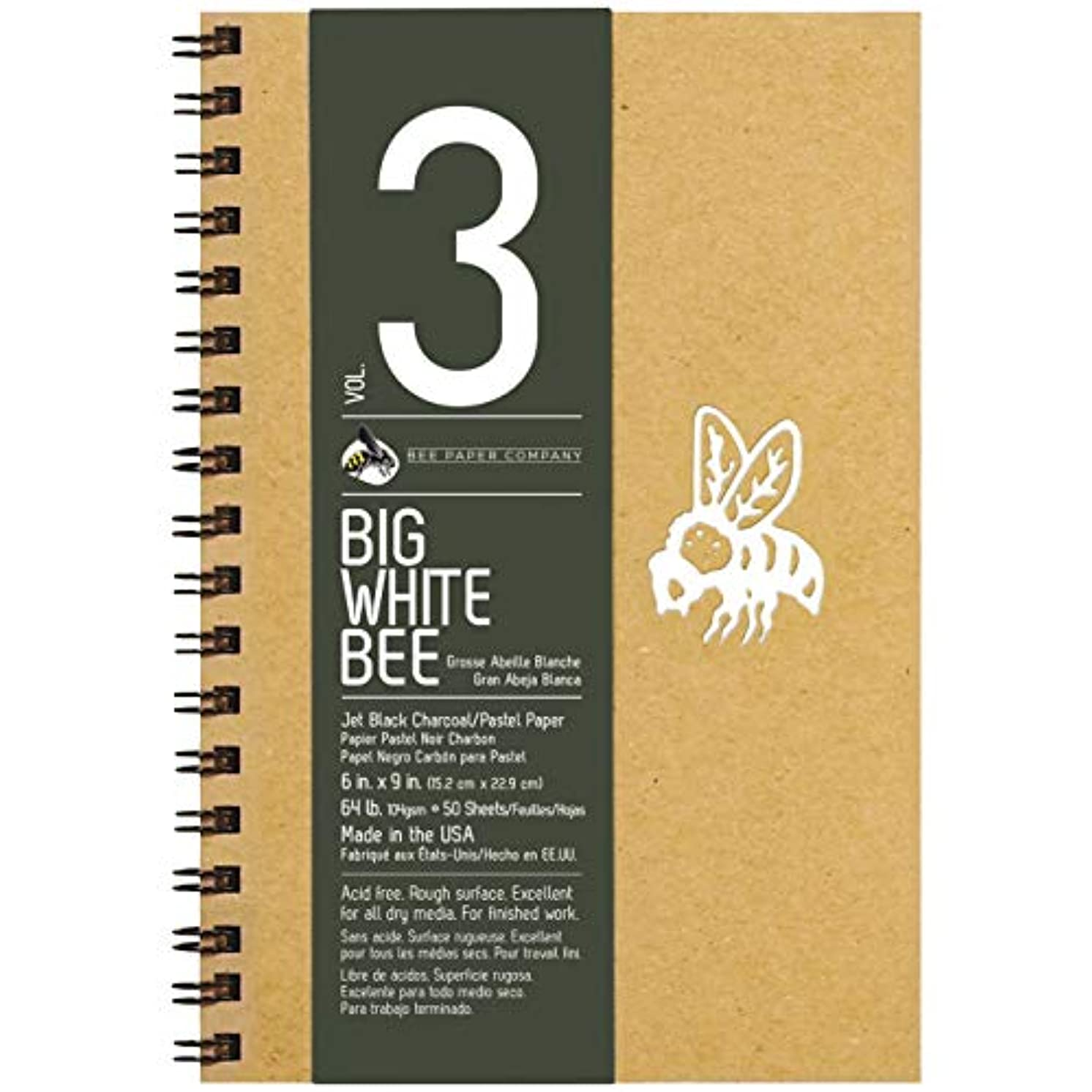 Bee Paper Company BEE-204CB50-609 Big White Bee Drawing Pad, 9 by 6-Inch, Black Charcoal