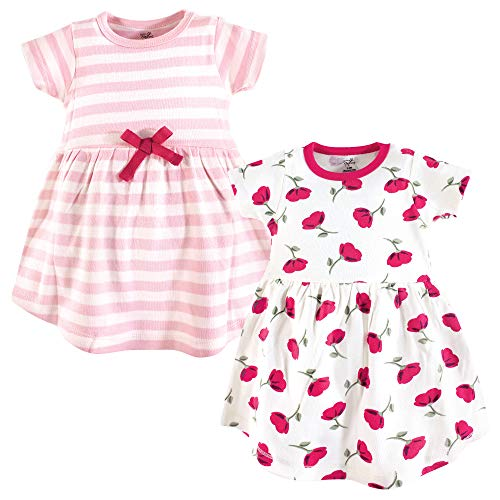 Touched by Nature Girls' Organic Cotton Short-Sleeve Dresses, Petals, 9-12 Months