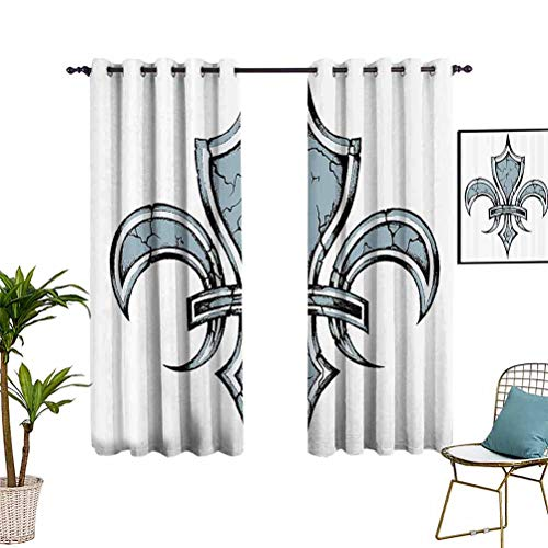 Fleur De Lis Thermal&Extra Wide curtains Grungy Lily Retro Renaisce Spirit Element Victory Vintage Art Print Blackout Thermal Insulated Liner Window Curtain for Living Room 42'x63' Blue White Black
