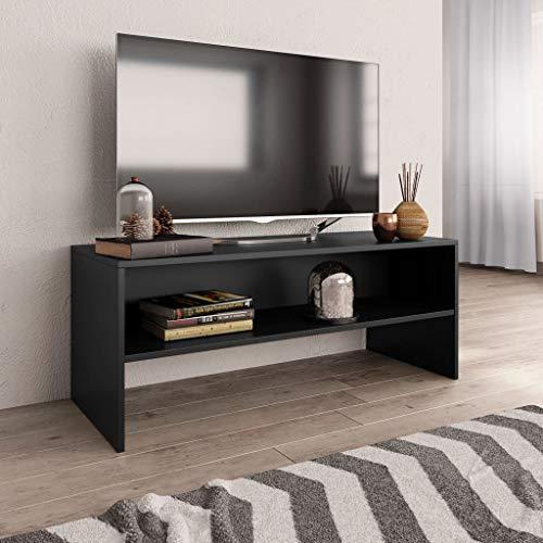 vidaXL Meuble TV Armoire Basse avec Un Compartiment Ouvert Meuble Multimédia Stéréo Salon Salle de Séjour Maison Noir 100x40x40 cm Aggloméré