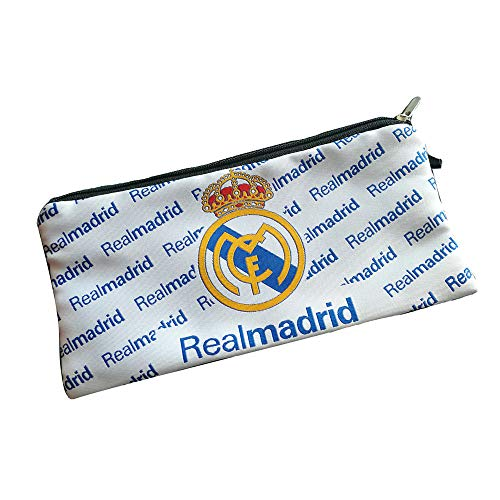 Football Club Soccer Team Logo Pencil Cases with Zipper Pencil Holder Portable Pencils Pens Bag Pouch for School & Office (Real Madrid)