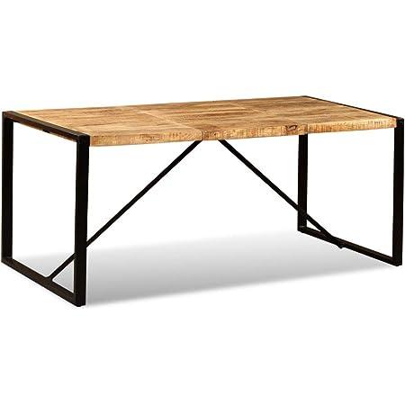 Tidyard Table à Manger en Bois   Table de Salon   Table de Salle a Manger Industrielle en Bois de Manguier Brut 180 x 90 x 76 cm