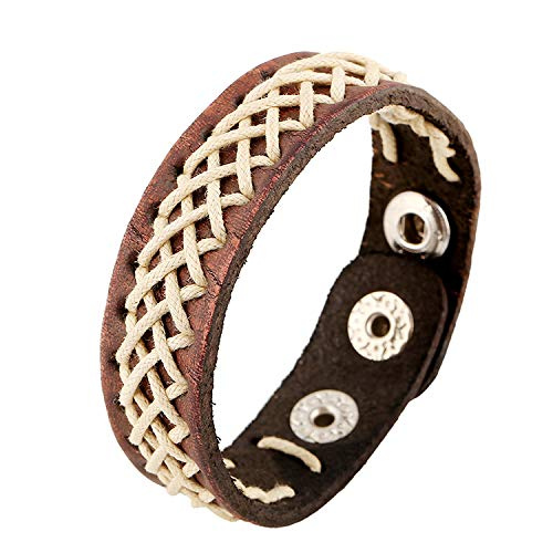 Styleziel 2330 Armband voor dames en heren, echt leer, surfer vintage look, witte vlechting, bruin, skull verstelbaar