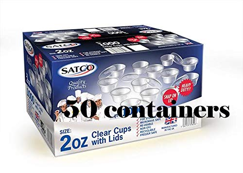 SATCO 2 OZ ROUND FOOD CONTAINERS WITH LIDS FOR CATERING AND RESTAURANTS 100 PCS
