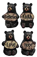 Ebros Set of Four Inspirational Bears Statues Whimsical Cute Black Bear Holding Love Believe Faith and Hope Sign Plaque Small Figurines Western Decor Rustic Nature Lovers Gift